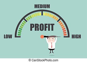 profit, homme affaires, mètre