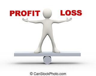 profit, perte, équilibre, homme, 3d
