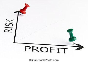 profit, vert, diagramme, épingle