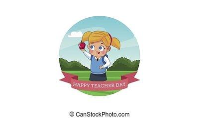 profs, lettrage, heureux, écolière, jour, ruban