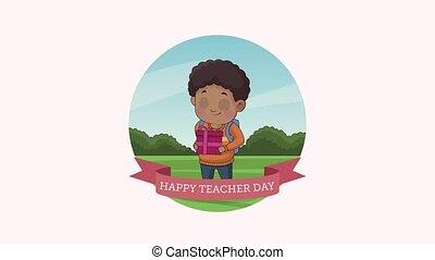 profs, lettrage, heureux, écolier, afro, jour, ruban
