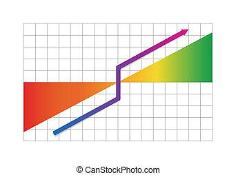 progrès, business, flèche, graphique