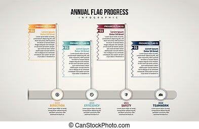 progrès, drapeau, infographic, annuel