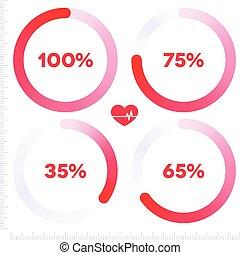 progrès, infographic, barre, rond, rouges