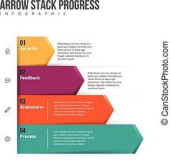 progrès, infographic, pile, flèche