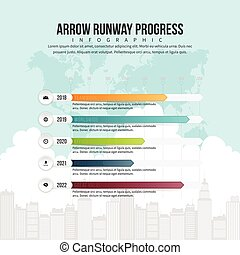 progrès, piste, infographic, flèche