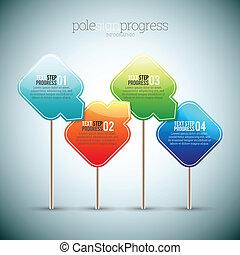 progrès, poteau, infographic, signe