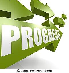 progrès, vert, flèche