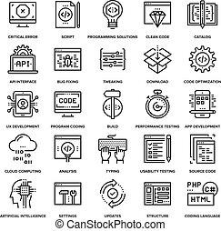 programme, codage, icônes