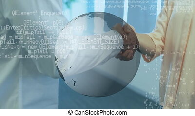 programme, codes, globe, mains, hommes, secousse