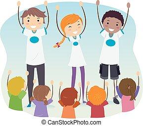 programme, gosses, dépasser, adolescents, illustration, stickman