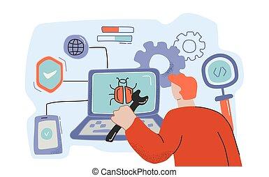 programmeur, bogue, fonctionnement, mâle, dessin animé, logiciel ordinateur, détection