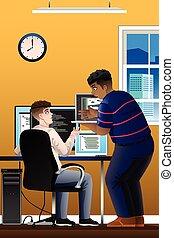 programmeurs, informatique, bureau, fonctionnement