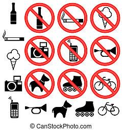 prohibitif, signs.