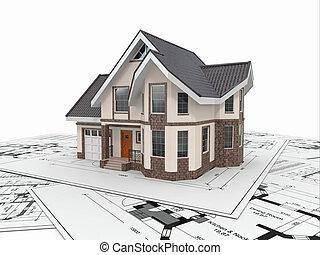 project., résidentiel, logement, architecte, maison, blueprints.