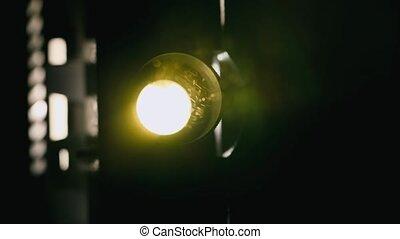 projecteur, lumière, voler, particules, faisceau, poussière