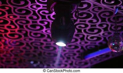 projecteur, lumières, clair, flashing., disco-ball, étape