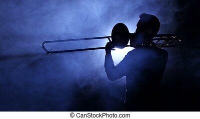 projecteur, silhouette, jeux, enfumé, trombone, studio, homme