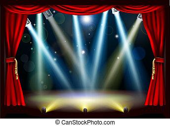 projecteur, théâtre, étape