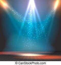 projecteurs, exposition, plancher danse, vecteur, fond, ou