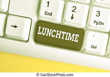 projection, après, écriture, main, avant, business, note, arrière-plan., milieu, petit déjeuner, papier, blanc, pc, texte, au-dessus, jour, repas, conceptuel, dîner, photo, lunchtime., clavier
