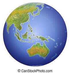 projection, asie, zélande, poteau, la terre, australie, nouveau, sud