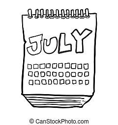 projection, blanc, mois, noir, freehand, dessiné, juillet, calendrier, dessin animé