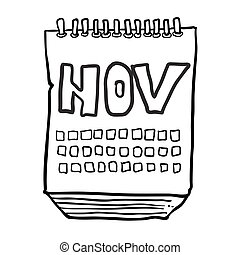 projection, blanc, mois, noir, freehand, dessiné, novembre, calendrier, dessin animé