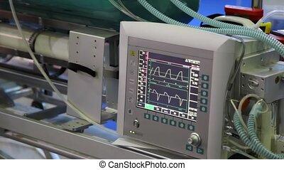 projection, chaud, électrocardiogrammes, moniteur, rythme