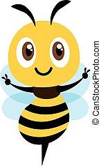 projection, conception, illustration, mignon, plat, main, abeille, vecteur, dessin animé, victoire, isolé, signe.