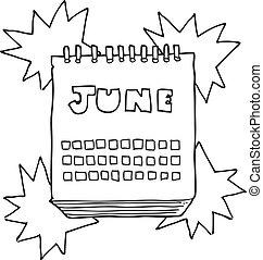 projection, dessin animé, noir, blanc, mois, calendrier