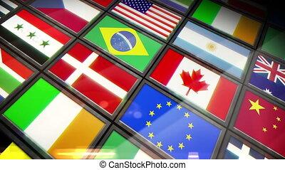 projection, drapeaux, collage, écrans