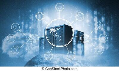 projection, global, la terre, réseau, animé, connexions