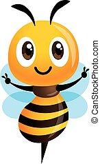 projection, illustration, mignon, main, abeille, vecteur, dessin animé, victoire, isolé, signe.