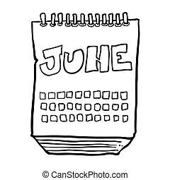 projection, juin, mois, noir, freehand, dessiné, calendrier, blanc, dessin animé