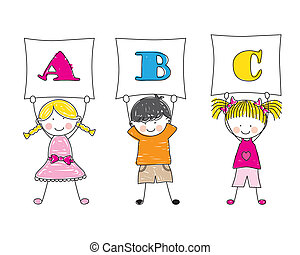 projection, lettres, enfants