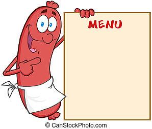 projection, menu, saucisse