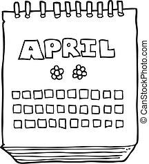 projection, mois, avril, noir, blanc, calendrier, dessin animé