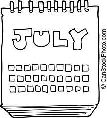 projection, mois, noir, calendrier, blanc, juillet, dessin animé