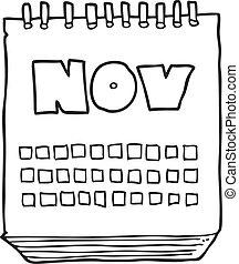 projection, mois, noir, calendrier, novembre, blanc, dessin animé