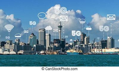 projection, numérique, ville, graphique, intelligent, connexion, globalisation, réseau, résumé