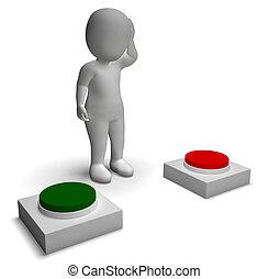 projection, pousser, caractère, indécision, choix, boutons, 3d