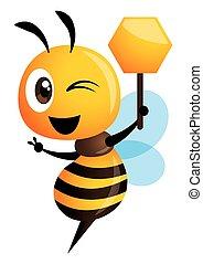 projection, signboard., forme, illustration, mignon, main, abeille, miel, vecteur, dessin animé, victoire, isolé, tenue