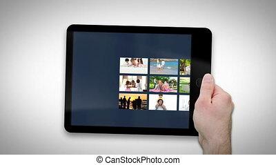 projection, tablette, familles, informatique