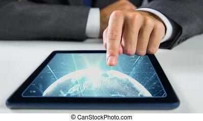 projection, vidéo, mains, toucher, tablette, mondiale