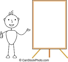 projection, whiteboard, homme bâton
