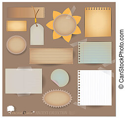projects), vecteur, scrapbooking, carte postale, designs., vide, ton, (variety, dispositions, papier, vendange, lambeaux, ou, set: