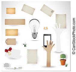 projects), vecteur, scrapbooking, carte postale, designs., vide, ton, (variety, téléphone, dispositions, papier, ampoule, vendange, lambeaux, ou, set: