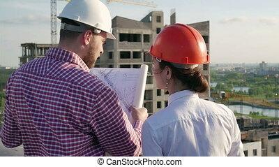 projet, architecte, discuter, ingénieur