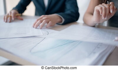 projet, bureau fonctionnant, gens, moderne, jeune, space., business, séance